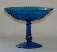 Høvik -Fruktvase modell Thor i blått glass , 1909 . Ustemplet.