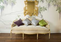 pretty-wallpaper-french-settee-pillows-gold-mirror-eclectic-home-decor-ideas-de-gournay