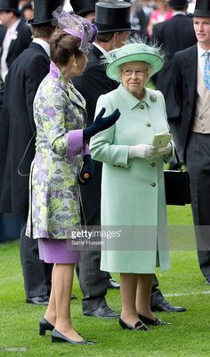 Princess Anne, Princess Royal and Queen Elizabeth II attend Ladies Day of Royal…