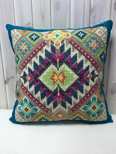 Hand-made embroidered Pillow Cover Greeks Cushion by kaanni on Etsy Cross Stitching, Cross Stitch Embroidery, Hand Embroidery, Cross Stitch Patterns, Modern Embroidery, Embroidery Patterns, Crochet Patterns, Tapete Floral, Cushion Cover Pattern