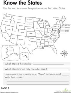 Third Grade Geography Worksheets: Geography: Know the States Worksheet