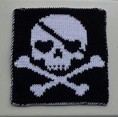 Ravelry: Skull Ulli DF-Square pattern by Wineta Vogue Knitting, Knitting Club, Knitting Charts, Double Knitting, Knitting Yarn, Crochet Skull, Crochet Cross, Knit Or Crochet, Crochet Pattern