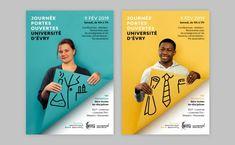 Évry University Open Day - Poster design on Behance Creative Poster Design, Creative Posters, Graphic Design Posters, Graphic Design Inspiration, Poster Designs, Poster Design Layout, Ad Design, Book Design, Branding Design