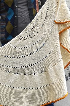 Glacier Sweep by Stephen West - a worsted weight crescent shawl. I love the contrast i-cord bind-off. lovely.