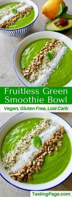 Reduce your sugar intake with this fruitless green smoothie bowl. It'll energize you without a sugar crash afterward. It's gluten free, dairy free, vegan, and free from refined sugar | TastingPage.com #smoothie #smoothiebowl #sugarfree #vegan #lowcarb #glutenfree #AD