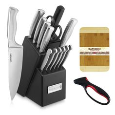 "Cuisinart 15pc Stainless Steel Hollow Handle Block Set + Jokari Deluxe Knife Sharpener with Comfort Grip + Wooden Bread Board 3/4-Inch. Includes 8"" chef's knife, 8"" slicing knife, 7"" santoku knife, 5-1/2"" serrated utility knife, 3-1/2"" paring knife, 3-1/2"" bird's beak paring knife, all-purpose shears, six 4-1/2"" steak knives, and storage block. High-carbon stainless steel blades. Durable bolsters. Ergonomically designed stainless steel handles. Knives: dishwasher-safe; Block: hand wash only."