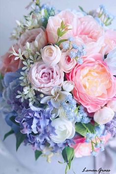❁ pin: michaelanotmakayla | ig: michaelanotmakayla ❁ Pastel Flowers, White Flowers Bouquet, Wedding Bouquet Blue, Spring Flower Bouquet, Spring Flowers, Pastel Bouquet, Spring Wedding Bouquets, Blue Bouquet, Floral Bouquets