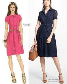 Sew the Look: Butterick B6333 shirtdress sewing pattern. Pretty in eyelet.