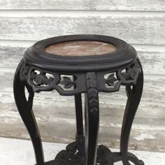 Vintage Wooden Oriental Plant Stand Marble Top, Black Asian Style Side Table