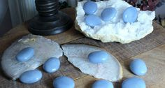 Angelite Soothing Stones for peace, calm, lucid dreams and to welcome your Angelic Guides Lucid Dreaming Techniques, Crystals In The Home, Calm, Carving, Peace, Earth, Jewels, Gemstones, Pretty