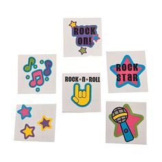 36 Glitter ROCK ROLL TATTOOS Kids Temporary 3 Dozen Music Star Party Favors Fun