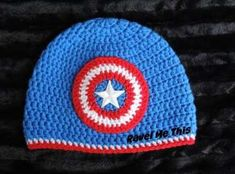 Captain America Crochet Hat Teen size - Visit to grab an amazing super hero shirt now on sale! Crochet Baby Boy Hat, Crochet Hats For Boys, Bonnet Crochet, Crochet Beanie, Crochet Crafts, Free Crochet, Knit Crochet, Knitting Projects, Crochet Projects