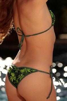 811ae563a73 Green Pot Leaf Sexy Scrunch Butt Bikini 2 Piece Cheeky Brazilian Bottom S/M  Triangle Top Puckered Micro Swimwear Kush Marijuana Mary Jane
