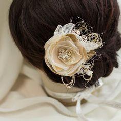 Wedding Hair flower Wedding hair piece Bridal hair by LeFlowers