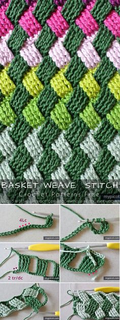 The Celtic Basket Weave is a great textured stitch allows making a woven fabric rich in density and pretty look. It gives a chance to crochet many stunning Crochet Stitches Patterns, Crochet Motif, Crochet Crafts, Crochet Yarn, Crochet Projects, Free Crochet, Knitting Patterns, Basket Weave Stitch Crochet, Crochet For Beginners