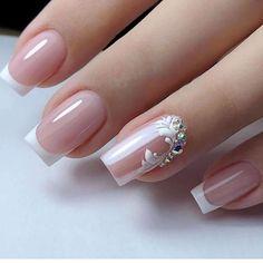 Elegant Nails, Classy Nails, Stylish Nails, Elegant Bridal Nails, Bride Nails, Wedding Nails, French Nail Designs, Nail Art Designs, Bridal Nails Designs