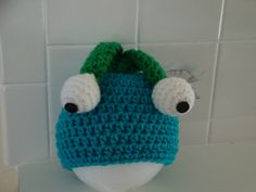Hand Crocheted dangly eyed monster hat for infant, baby boy or girl, size 0-3 mos. - Ready to Ship