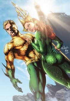 Aquaman - Mera by diabolumberto on DeviantArt Marvel Dc, Marvel Comics, Dc Comics Heroes, Dc Comics Characters, Marvel Heroes, Arte Dc Comics, Mera Dc Comics, Aquaman Dc Comics, Superhero Villains