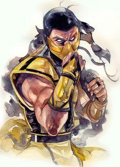 Mortal Kombat - Scorpion by Andrea Jen * Scorpion Mortal Kombat, Arte Kombat Mortal, Fight Tattoo, Game Character, Character Design, Mortal Kombat X Wallpapers, Anime Echii, Fighting Games, Video Game Art