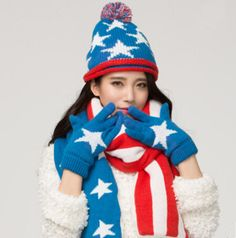 American flag hat scarf and gloves set for women fleece warm winter essential