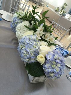 Blue and white centerpiece Blue and white centerpiece. centerpieces blue Blue and white centerpiece Blue Hydrangea Centerpieces, Summer Wedding Centerpieces, White Centerpiece, Shower Centerpieces, Wedding Table, Everyday Centerpiece, Wedding Summer, Wedding Ideas, Flower Decorations