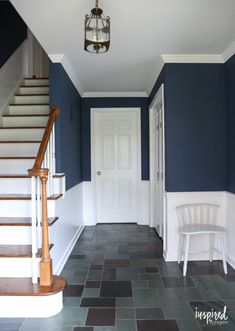 Painting my Entryway - Farrow & Ball Stiffkey Blue A look at my newly painted entryway. Color: Farrow and Ball Stiffkey Blue Stiffkey Blue, Blue Hallway, New Homes, House, Blue Paint Colors, Home Decor, Hall Colour, Hallway Decorating, Interior Decorating