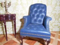 Artist Gail Steffey Blue Leather Lolling Chair: 1:12