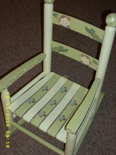 Childrens ROCKING CHAIR Papagayo Custom Design hand painted by onmyown14 on Etsy