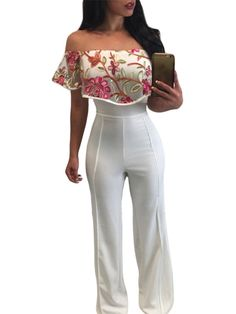 Make a fashion statement in this wide leg jumpsuit! It features off shoulder, floral embroidery, white color and wide leg design. Pair this jumpsuit with platform heels for the ultimate sexy look! Fabric: CottonNeckline: Off Shoulder Rompers Women, Jumpsuits For Women, Pantalon Large, Mode Shop, Romper Pants, Playsuit, Trends, Sensual, Outfit Sets