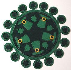 "penny rug style wool felt "" St Patricks candle mat pattern"