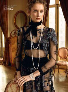 Sandra Martens models Tiffany & Co. jewelry with Melie choker, Asli Philante dress and Max Mara lingerie