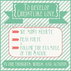 "{Come, Follow Me} Super Cute Young Women lesson helps and handouts! October: ""Becoming More Christlike""  www.latter-dayvillage.com  God and Jesus Christ"