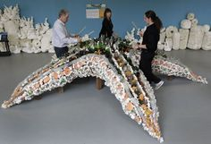 Washed Ashore - SF Zoo interactive percussion exhibit made from ocean trash. Visitors will be encouraged to rap, tap and bang on a variety of giant sea life sculptures, created from 11 tons of debris found floating in the Pacific Ocean,