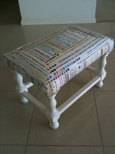 reupholster with old quilts...love the idea of covering a stool with an old quilt