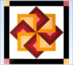 Red/Orange Star Spin Barn Quilt - 2 foot square