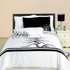 Modern Hotel Style Black and White Tree Branches Embroidered 100 percent Egyptian Cotton Duvet Comforter Cover and Pillow Shams Set