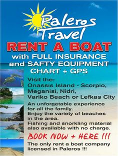 Paleros Travel Services-Rent a boat-rent a car-scooters & bikes for rent-Daily excursions to Ionian Island-excursions-transportation.