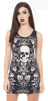 DARK CONSPIRACY BODY CON OCCULT DRESS by Jawbreaker - #infectiousthreads #goth #gothic #horrorpunk #punk #alt #alternative #psychobilly #punkrock #black #fashion #clothes #clothing #darkfashion #streetfashion #jawbreaker #bodycondress #occult #occultdress #skulls #skulldress