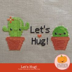 The Frosted Pumpkin Stitchery - Let's Hug! Cross Stitch PDF Pattern