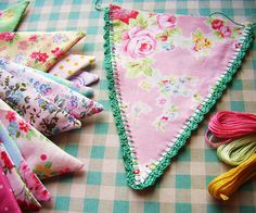 Crochet edged floral bunting