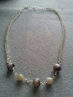 Dragontail chain with Amethyst and Moonstone beads Pearl Necklace, Beaded Necklace, Amethyst, Jewellery, Pearls, Chain, String Of Pearls, Jewelery, Jewelry Shop