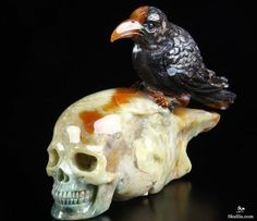 Original Indian Agate Carved Crystal Skull Wand/point With Bird Sculpture, Realistic, Crystal Healing Skull Pictures, More Pictures, Indian Agate, Bird Sculpture, Crystal Skull, Crystal Healing, Wands, Carving, Fine Art