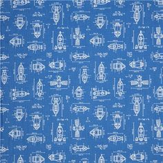 checkered retro fabric by Caleb Gray with equations and graphs of rockets and satellites from the USA