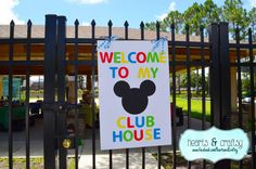 Mickey Mouse Clubhouse Third Birthday Party! | Welcome sign by HeartsandCraftsy CatchMyParty.com
