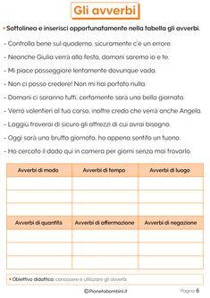 Gli Avverbi: Esercizi per la Scuola Primaria | PianetaBambini.it Italian Language, Learning Italian, Fifth Grade, Elementary Schools, Christian, Alphabet, Languages, Exercises, School