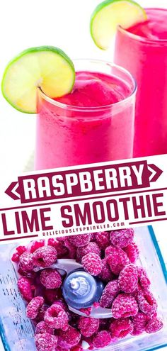 Ignite your taste buds and take them to a whole new level! With a delicious combination of sweet and tart from raspberries and lime, this refreshing energy smoothie is sure to become a favorite way to start the day. Save this drink recipe for an easy breakfast idea! Frozen Drink Recipes, Easy Drink Recipes, Delicious Breakfast Recipes, Frozen Drinks, Drinks Alcohol Recipes, Coffee Recipes, Yummy Drinks, Summer Recipes, Alcoholic Drinks