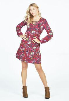 Lace Up Tiered Boho Dress Kleidung in OXBLOOD MULTI - günstig kaufen bei JustFab