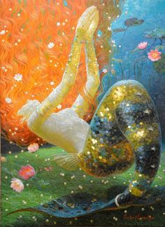 Home Living room Children's Bedroom, Home Office/Study Art Wall Decor fantasy Vintage mermaid Oil painting pictures printed on canvas Oil Painting Pictures, Pictures To Paint, Print Pictures, Victor Nizovtsev, Mermaid Tale, Mermaid Mermaid, Mermaids And Mermen, Fantasy Mermaids, Vintage Mermaid