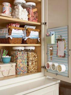Magnet board on cupboard shelves