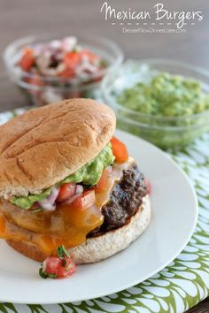 Mexican Burgers from Dessert Now Dinner Later #cookout via @Amber {Dessert Now, Dinner Later!}